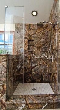 Mark Petinga photo Granite Grannies - Rainforest Brown granite in a bathrrom - tropical - showers - baltimore - Mark Petinga Photography Inc. Granite Shower, Granite Bathroom, Tropical Showers, Tropical Bathroom, Bali Architecture, Red Cabinets, Brown Granite, Marble Bath, Downstairs Bathroom
