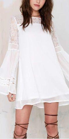 Lace Spliced White Long Sleeve A Line Dress Dress Outfits, Dress Up, Fashion Outfits, Womens Fashion, Boho Dress, Dress Clothes, Swing Dress, Flare Dress, Boho Chic