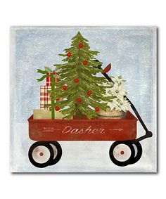 Loving this Christmas Wagon Wrapped Canvas on #zulily! #zulilyfinds