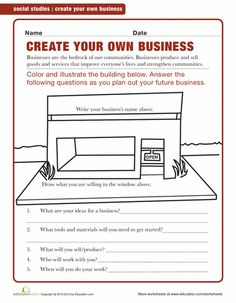 Worksheets: Starting a Business for Kids