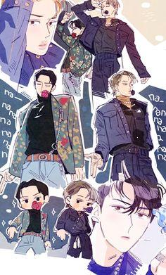 Cre: the owner/as logo Chibi, Character Art, Exo Art, Exo Fan Art, Exo Chibi Fanart, Anime, Cartoon, Exo Anime, Fan Art