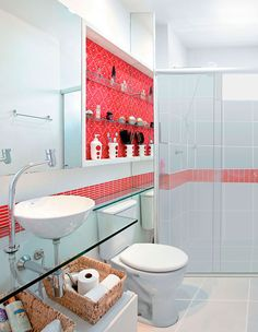 Ideas bathroom shelves over toilet glass bathtubs Shelves Over Toilet, Glass Bathtub, Bathroom Makeover, Bathroom Red, Small Space Bathroom, Small Bathroom, Bathroom Design, Bathroom Decor, French Apartment