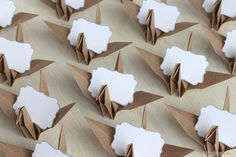 16 Kraft Origami Paper Crane Name Place Cards with Ivory Matte Name Cards Neutral Wedding Reception Thanksgiving Rustic Autumn Fall Favors