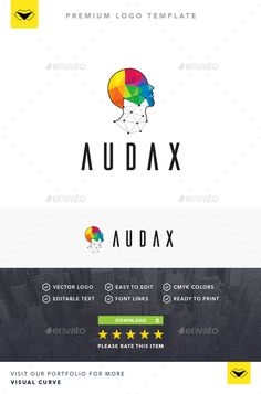 Audax Logo  	3d, ai, artificial intelligence, blue, colorful, communication, computer, corporate, developer, face, geometric, green, head, high tech, human, innovation, internet, it, logo, low poly, pink, pixel, print, purple, red, tech, technical, technology, yellow