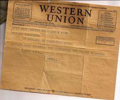 Western Union Telegram from Larry Rich. Western Signs, Western Union, Larry, 1920s, Broadway, Boss