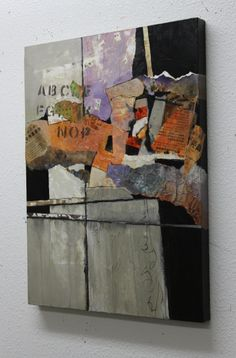 """Billboard 4"" 24x18 acrylic collage by Carol Nelson"