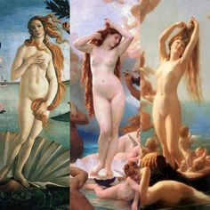 The Birth of Venus by Sandro Botticelli, William-Adolphe Bouguereau, and Fritz Zuber-Bühler (1486, 1879,1887)
