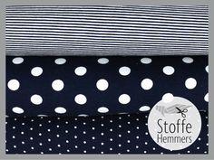 Viskosejersey Stoffe blau kaufen bei stoffe-hemmers.de fabric knit viscose stripes dots mini dots blue