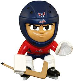 Washington Capitals Lil Teammates Goalie Series Catch the fever of the hot new collectible toy craze with these poseable vinyl team figures, available in various positions, series and uniform combinations. Sports Figures, Action Figures, Caps Hockey, Hockey Players, Washington Capitals Hockey, Nhl Apparel, Star Wars, Sports Toys, Animal Party