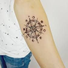 Image result for compass tattoo with moon