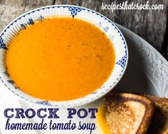 This easy crock pot tomato soup recipe is simple way to make a flavorful homemade tomato soup right at home that beats any pre-made canned soup.