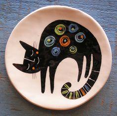 Black sleeping cat plate