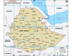 Buy Ethiopia Laude And Longitude Map