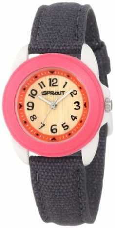 Sprout Women's ST/1040PKIVGY Black Organic Cotton Strap Bamboo Dial Watch Sprout. $30.00. Organic cotton strap dyed black with matching stitching. Silver-tone stick hour and minute hands with second hand sweep. Ivory corn-resin buckle closure. Bio-degradable 30 mm ivory corn resin case with pink bezel. Genuine bamboo dial with black arabic numeral markers at all indexes and pink frame