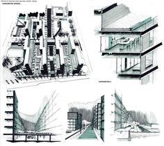 Proyecto Edificios de Vivienda.    Dibujo: Ismael Carpio F Técnica: Marcador negro