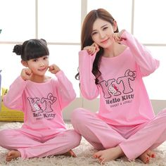 Spring and autumn Fashion family matching outfits pajama set mother/daughter cotton long sleeved lovely letter KT clothes sets Mother Daughter Matching Pajamas, Mother Daughter Outfits, Mom Daughter, Navidad Hello Kitty, Family Christmas Pajamas, Matching Family Outfits, Pyjamas, Outfit Sets, Pajama Set