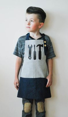 Toddler Boys apron Boys apron Pinstripe apron by key2creativity