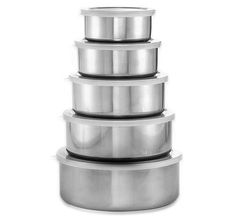$9.99 3/26/2012 Only. ThinkTank Technology 5-Piece Stainless Steel Bowl Set With Airtight Plastic Lids - For Storage & Serving
