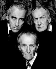The Bat Pack: Christopher Lee, Vincent Price, Peter Cushing. Their birthdays were close together: Peter Cushing: May Vincent Price: May Christopher Lee: May 1922 Vincent Price, Classic Hollywood, Old Hollywood, Peter Cushing, Horror Icons, Classic Movies, Classic Movie Stars, Johnny Depp, Famous Faces