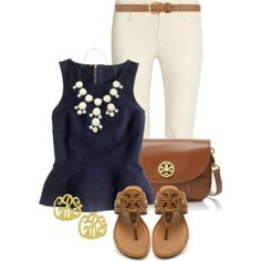 Love it all.  I own that necklace in aqua and a navy shirt almost identical to the one in picture.