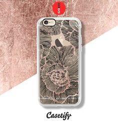 Casetify iPhone 7 Case and Other iPhone Covers - Modern Drawn Linear Trendy Black Floral Pattern Transparent phone case by designer BlackStrawberry | #Casetify