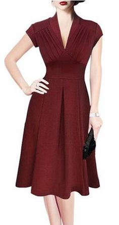 Love this dress~~clean and simple lines! Retro style V-neck wine ruby red short-sleeve dress