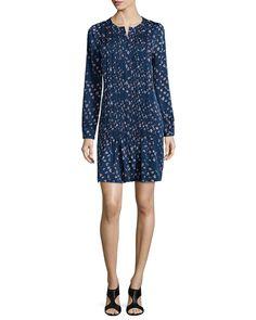 Long-Sleeve Pleated Daisy Buds Dress, Indigo, Daisy Buds Tiny - Diane von Furstenberg