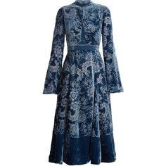 Erdem Christina high-neck velvet-devoré dress ($3,209) ❤ liked on Polyvore featuring dresses, velvet dress, blue victorian dress, floral fit and flare dress, blue mini dress and mini dress