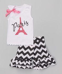 Look at this #zulilyfind! White Eiffel Tower Tank & Ruffle Shorts - Infant, Toddler & Girls #zulilyfinds
