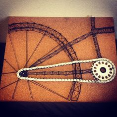 Cool mixed media bicycle art made from nails and string found in Michaels stores. Created by bmxjj327