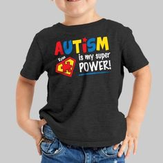 Our Autism is my Superpower T-Shirt is great way for your child to show their support for Autism Awareness. Teacher Shirts, Mom Shirts, Kids Shirts, Autism Learning, Adhd And Autism, Is My Child Autistic, Autism Awareness Month, Autism Shirts, Autism Awareness