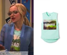 """0a48b71888 Maddie Rooney (Dove Cameron) wears this """"paradise"""" tank top in this week s  episode of Liv   Maddie."""