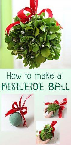 DIY Mistletoe Ball #diy #mistletoe #christmasdecor http://livedan330.com/2014/12/23/diy-mistletoe-ball/