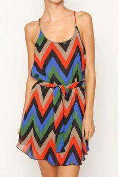 Chevron Print Chiffon Dress Summer Fall Women's Fashion