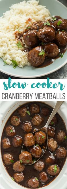 These Slow Cooker Cranberry Meatballs are sweet and tangy with a little spice -- the perfect holiday appetizer or easy weeknight dinner! Includes step by step recipe video | slow cooker recipe | crockpot recipe | crock pot | dinner | easy recipe | Christmas | thanksgiving | game day | football | party food | #slowcookerrecipes