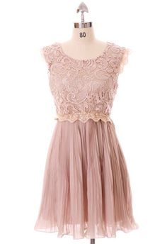 Carnation Lace Pleated Dress