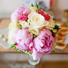 Wedding bouquet with paeonias and david austin rose