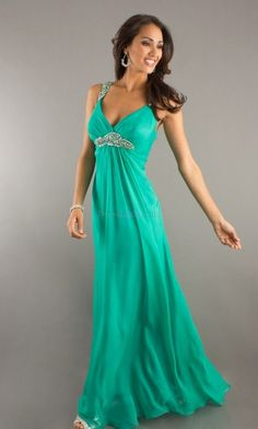 Green Sleeveless Long/Floor-length Chiffon Evening Dresses With Beading Sweep/Brush Train ED3A02