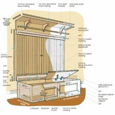 illustration of how to build a mudroom bench, this old house pinterest page top pins of 2013