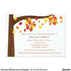 Autumn Falling Leaves Engagement Party Invitation