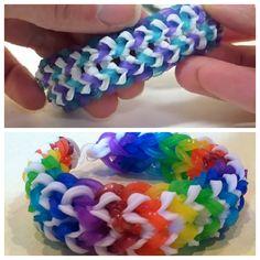 Tire Track Rainbow Loom Bracelet . http://wonderfuldiy.com/wonderful-diy-tire-track-rainbow-loom-bracelet/