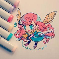 Gambatte, tori chan!! Ella se llama, o mejor dicho, le dicen Ivi (no wn, no soy yo, pero siempre me gustó el sobrenombre) ya la he dibujado y mostrado aquí anteriormente ^^ Y recuerden, esa es su bufanda y no alas X3 #chibi #kawaii #kawaiigirl #hairpink #tori #traditional #bic #copics #anime #instadraw #instaanime #originalcharacter #oc