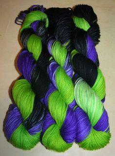 "Maleficent on Ice"", 100g, Superwash, Australian merino wool, 8ply/DK, Varigated, multicolour, green, lime, purple, black, mauve. by AngiesStudioYarn on Etsy"