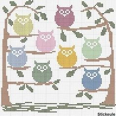 Cute Owl Cross Stitch Free Pattern.