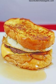 French Toast, Sausage, Egg and cheese