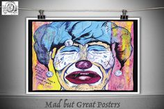 Clown Face - Thomas Spencer, original poster, vintage, kitchen wall, home decor, gift, fine art, illustration, Pop art print, circus, gay by MadButGreatPosters on Etsy