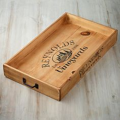 Rustic wood box wine crates Ideas for 2019 Diy Wood Box, Rustic Wood Box, Wood Boxes, Wooden Wine Crates, Wine Crate Table, Rustic Serving Trays, Crate Crafts, Wine Cork Crafts, Personalized Wine