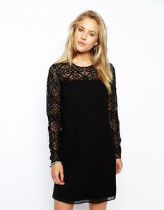 Needle & Thread | Needle & Thread Lattice Sleeve Shift Dress at ASOS