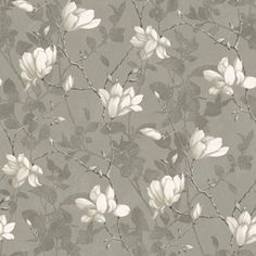 Papier peint Lilly Tree gris et doré - Collection In Bloom - Boråstapeter Beige Wallpaper, Tree Wallpaper, Wallpaper Samples, Pattern Wallpaper, House Color Palettes, Tree Icon, Floral Style, Paper Background, Designer Wallpaper