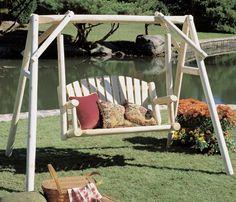 Rustic Natural Cedar Furniture Rustic Natural Cedar Furniture American Garden Log Porch Swing and Stand Set, White Cedar, Wood, x in. Cedar Furniture, Log Cabin Furniture, Lawn Furniture, Rustic Furniture, Poolside Furniture, Outdoor Furniture, Garden Swing Sets, Yard Swing, Swing Seat